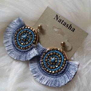 B2G1 NWT Natasha Blue Disc Boho Tassel Earrings